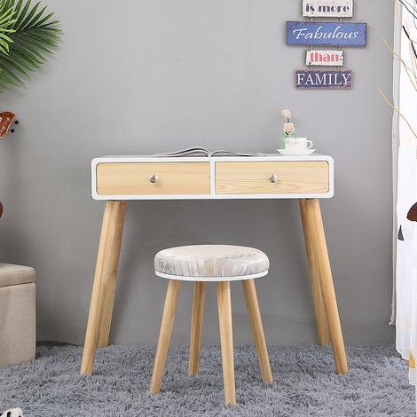 """main image of """"Coiffeuse blanche de style moderne avec tabouret + 2 tiroir ( bois couleurs )80 * 40 * 125CM"""""""