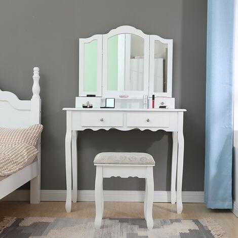 Coiffeuse Blanche, Table de Maquillage avec 4 Tiroirs, 3 Miroir 90*40*142cm