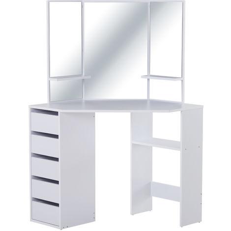 Coiffeuse d'angle design contemporain table de maquillage multi-rangements 5 tiroirs 3 étagères 3 miroirs blanc