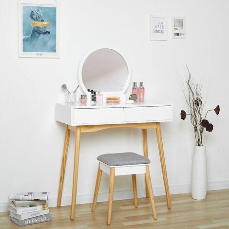 Coiffeuse design, Miroir rond,2 Tiroir avec coulisses,tabouret, Style Simple et Moderne, Blanc-Meerveil