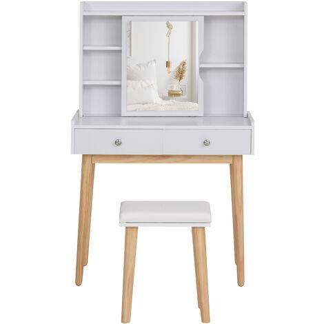 Coiffeuse design scandinave table de maquillage multi-rangements miroir coulissant tabouret blanc pin clair