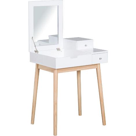 Coiffeuse design scandinave table de maquillage multi-rangements miroir pliable 60L x 50l x 86H cm pin et MDF blanc