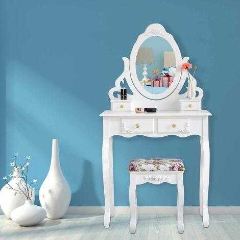 Coiffeuse en Bois Blanc, 1 Grand Miroir, Sculptée et Ciselée, 4 Tiroirs, 1 Tabouret, Pièces Antidérapantes, Style Classique