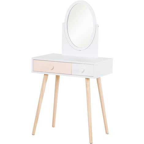 """main image of """"Coiffeuse enfant design scandinave table de maquillage multi-rangements miroir dim. 69L x 49l x 136H cm pin et MDF blanc"""""""