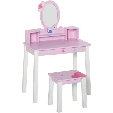 """main image of """"Coiffeuse enfant table de maquillage avec tabouret, 1 tiroir, miroir 59 x 39 x 92 cm bois rose"""""""