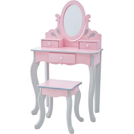 Coiffeuse enfant tabouret rose en bois avec miroir Fantasy Fields Teamson TD-12851A