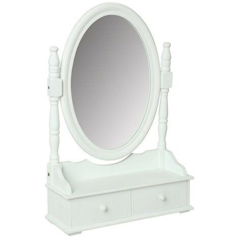 Coiffeuse grand miroir avec 2 tiroirs range bijoux - Blanc - Livraison gratuite