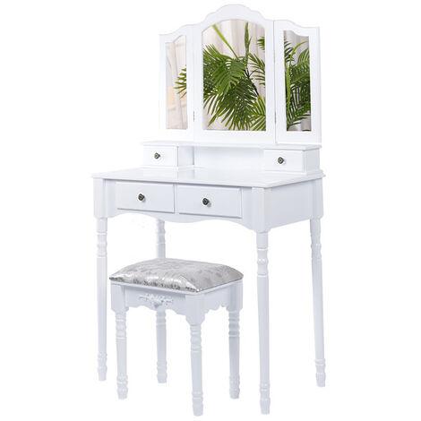 Coiffeuse Grande table de maquillage 3 miroirs rabattables 4 tiroirs et Tabouret - blanc - Blanc
