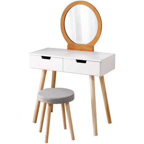 Coiffeuse incl Coiffeuse et miroir Coiffeuse en blanc-bois couleur Table de cosmétique antique