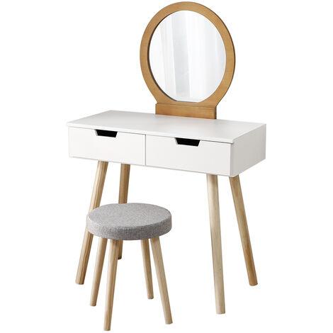 Coiffeuse incl Coiffeuse et miroir Coiffeuse en blanc-bois couleur Table de cosmétique antique - Blanc-bois couleur