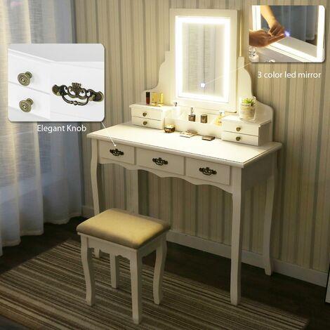 Coiffeuse LED Lumière Dimmable Table de Maquillage avec Miroir et Tabouret, Table de Maquillage avec 3 Tiroirs coulissants