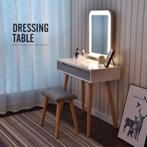 Coiffeuse LED Table de maquillage avec Miroir Coiffeuse et tabouret