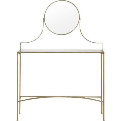 Coiffeuse métal doré et verre avec miroir