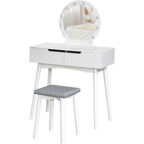 "main image of ""Coiffeuse miroir LED design contemporain table de maquillage 2 tiroirs tabouret inclus MDF pin blanc"""