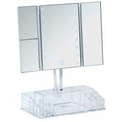 Coiffeuse Miroir LED, miroir grossissant LED, x2, x3, sur pied avec rangement, Fanano