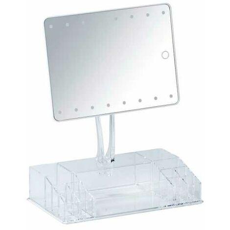 Coiffeuse Miroir LED, miroir maquillage sur pied avec rangement, 17x22 cm, Farnese