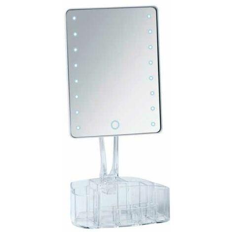 Coiffeuse Miroir LED, miroir maquillage sur pied avec rangement, 18.5x25.5 cm, Trenno