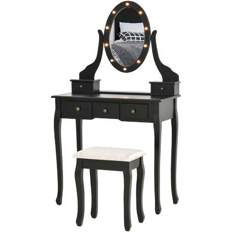 """main image of """"Coiffeuse miroir ovale LED pivotant tabouret style baroque 5 tiroirs noir - Noir"""""""
