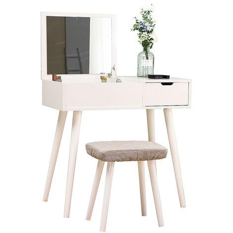 Coiffeuse Moderne Coiffeuse Table de Maquillage avec Miroir Pliant,1 Tiroir de Rangement,Tabouret