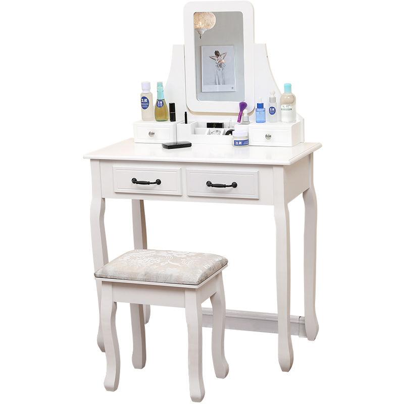 Coiffeuse Moderne Coiffeuse Table De Maquillage Avec Miroir Pliant1 Tiroir De Rangementtabouret Blanc