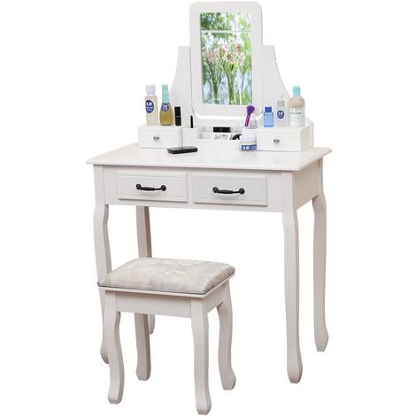 Coiffeuse Moderne Coiffeuse Table de Maquillage avec Miroir Pliant,1 Tiroir de Rangement,Tabouret blanc