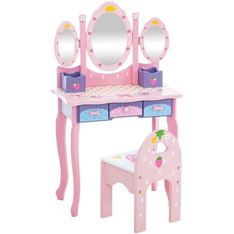 Coiffeuse pour enfants Emilia avec chaise rose