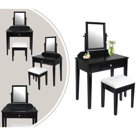 Coiffeuse, Table de Maquillage, 1 tiroir, 1 miroir rectangulaire, Noir, Matériau: MDF, Bois de Paulownia