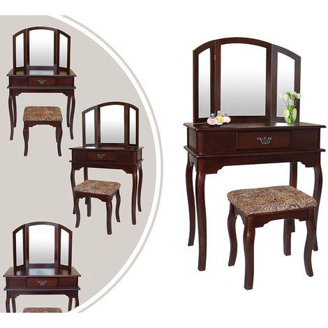 Coiffeuse, Table de Maquillage, 1 tiroir, 3 miroirs, Marron, Matériau: MDF, Bois de Paulownia