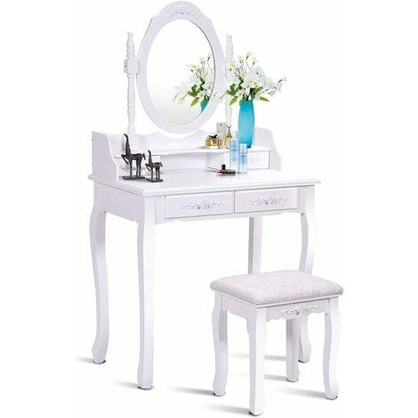 Coiffeuse Table de Maquillage 75x40x145CM avec Miroir Ovale 1 Tabouret Pieds en Pin et 4 Tiroirs Blanche