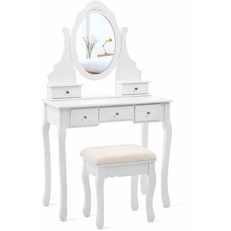 Coiffeuse, Table de Maquillage, avec 1 Miroir, 5 tiroirs et 1 Tabouret, Parois dans Le tiroir, Miroir pivotant, Blanc RDT09W