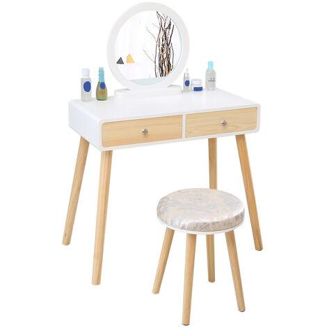 Coiffeuse Table de Maquillage avec 1 Miroir Pivotant 2 Tiroirs 1 Tabouret - Blanc-bois couleur