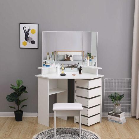 Coiffeuse Table de Maquillage avec 3 Miroirs et 5 Tiroirs à droite, Grande Coiffeuse d'angle, Moderne, Noir, avec Tabouret-Mondeer