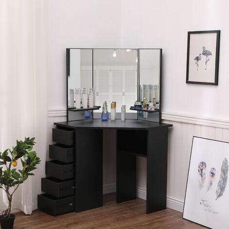 Coiffeuse Table de Maquillage avec 3 Miroirs et 5 Tiroirs à gauche, Grande Coiffeuse d'angle, Moderne, Noir, avec Tabouret-Mondeer