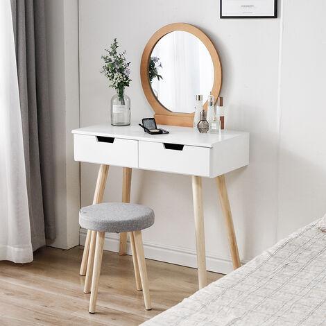 "main image of ""Coiffeuse, Table de Maquillage avec Miroir et Tabouret, Table de Maquillage avec 2 Spacieux Tiroirs Coulissants, Naturel et Blanc"""