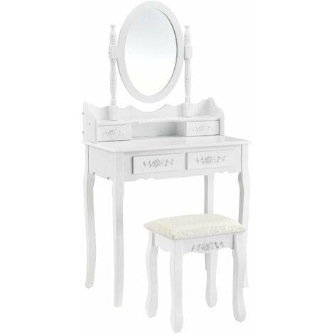 Coiffeuse table de maquillage avec miroir inclinable et 4 tiroirs 141 cm MDF et bois blanc - Blanc