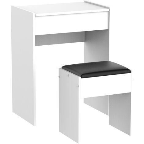 Coiffeuse table de maquillage avec tabouret miroir rabattable 9 + 1 compartiments intégrés 60L x 40l x 79H cm blanc noir