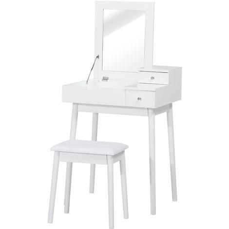 "main image of ""Coiffeuse table de maquillage avec tabouret miroir rabattable coffre + 2 tiroirs MDF bois massif pin blanc"""