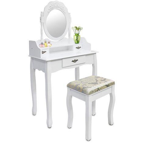 Coiffeuse, Table de Maquillage, Blanc, 3 tiroirs, miroir oval cadré, Matériau: MDF, Bois de Paulownia
