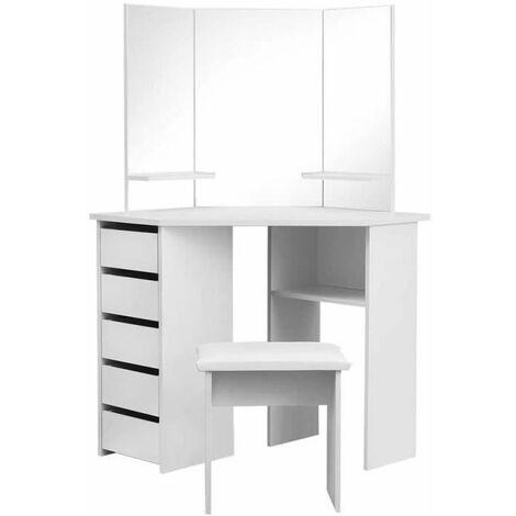 Coiffeuse Table de Maquillage Coiffeuse d'angle incurv��e de maquillage Blanc(avec repose-pieds) -110x54cm