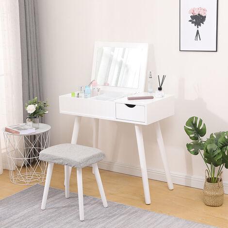 Coiffeuse Table de Maquillage Contemporaine Miroir Rabattable Grande Capacité avec Boîte de Rangement Tabouret Rembourré Couleur Blanc