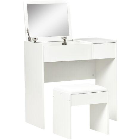 Coiffeuse table de maquillage design contemporain 80L x 40l x 79H cm miroir escamotable, tiroir, coffre + tabouret blanc