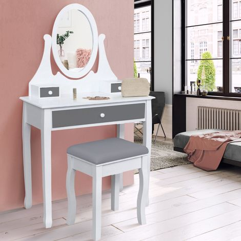 """main image of """"Coiffeuse table de maquillage en bois blanc et gris avec miroir et tabouret"""""""