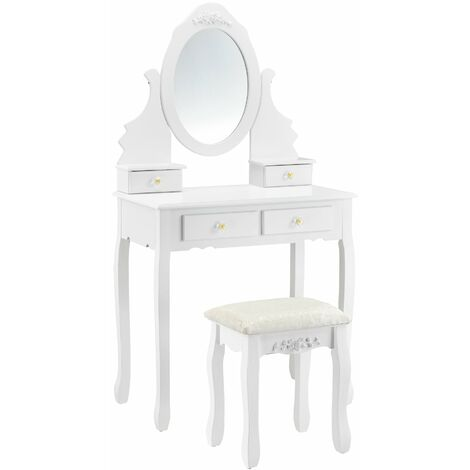 Coiffeuse table de maquillage miroir 4 tiroirs tabouret MDF et bois 141 cm blanc - Blanc