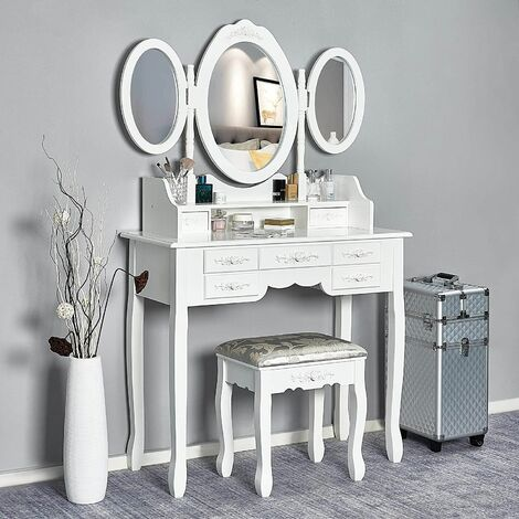 Coiffeuse -Tabouret-Blanche-Mirroir-Bois-Femme Table de Maquillage en MDF avec 7 Tiroirs et 3 Miroirs Ovale Tournable - Meerveil