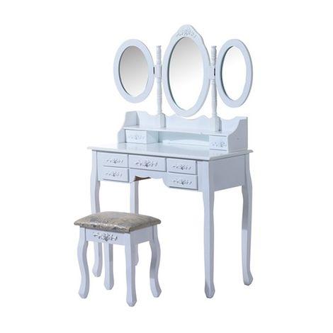 Coiffeuse - Tabouret et miroir - 7tiroirs et 3miroirs - 90x40x145cm