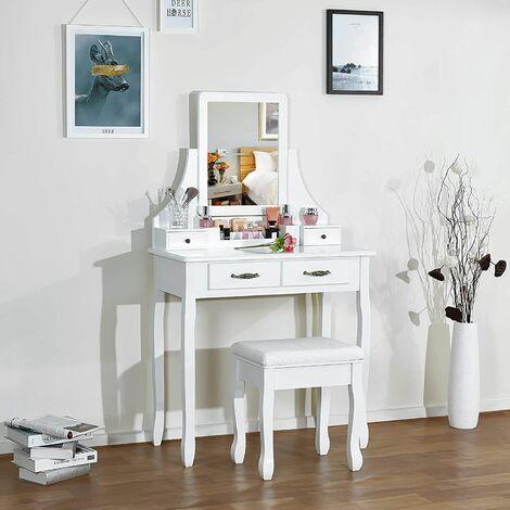Coiffeuse -Tabouret-Mirroir Table de Maquillage Miroir Tournable en MDF - Meerveil