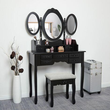 Coiffeuse -Tabouret-Noire-Mirroir-Bois-Femme Table de Maquillage en MDF avec 7 Tiroirs et 3 Miroirs Ovale Tournable - Meerveil