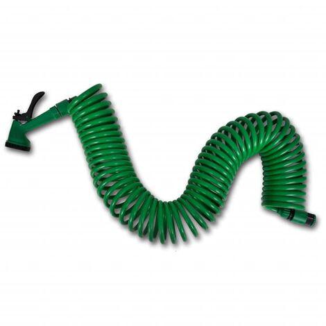 Coiled Garden Water Hose Spiral Pipe & Spray Nozzle 15 m