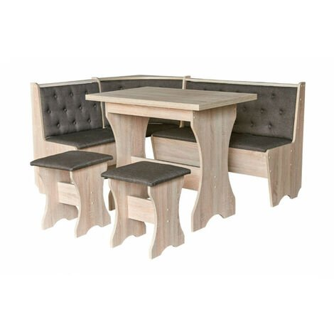 Coin repas MAXIMA coin + 2 tabourets + table 153.5 cm - Couleur: Anthracite - Anthracite