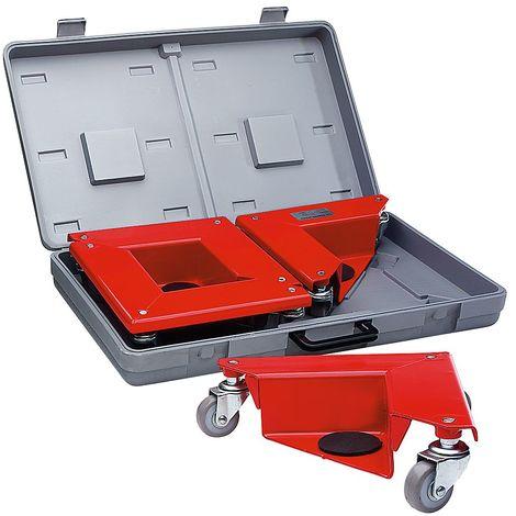 Coin rouleur dans mallette plastique pratique - en tôle d'acier, pour charges sans pieds - force 150 kg par pièce, lot - Coloris plateau: rouge de sécurité